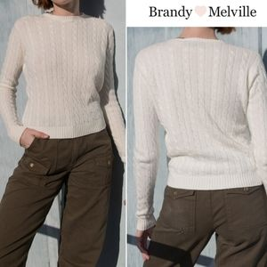 Brandy Melville Cable Knit Cropped Sweater